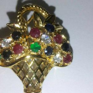 flower basket brooch emerald ruby sapphire NWT